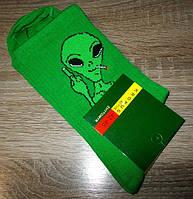 Носки мужские теннисные Инопланетянин зеленые размер 39-42, 42-45 42-45