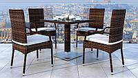 Комплект плетеный из ротанга для кафе XL IV Стол Antilope 80 х80 см +4 кресла Piccione