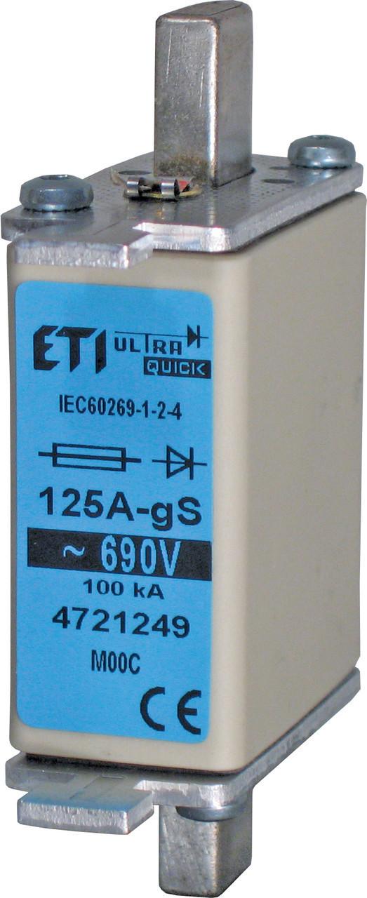 Предохранитель ETI M000 gS 80A 690V 100kA 4721247 ножевой сверхбыстрый (NH-00C)