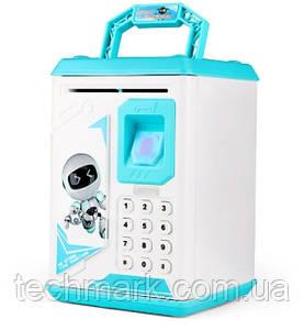 Копилка-сейф детская ROBOT BODYGUARD ART-906 Сканер отпечатка пальца Кодовый замок Ультрафиолет