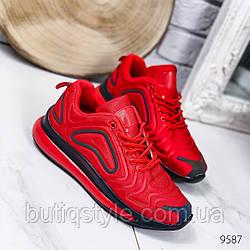 Женские красные кроссовки с черными вставками  обувной текстиль
