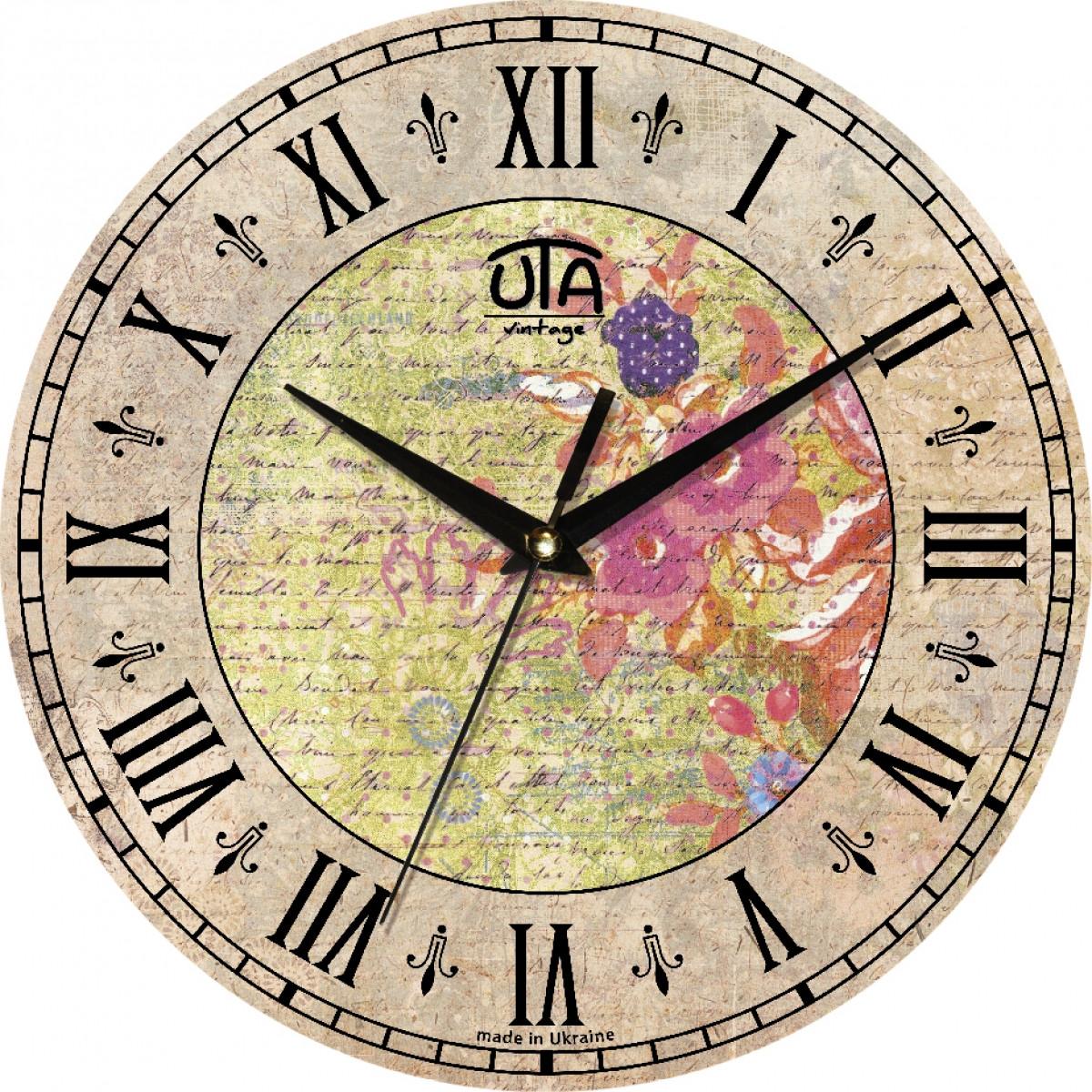 Часы настенные UTA Vintage 330 х 330 х 27 мм Абстракция с цветами