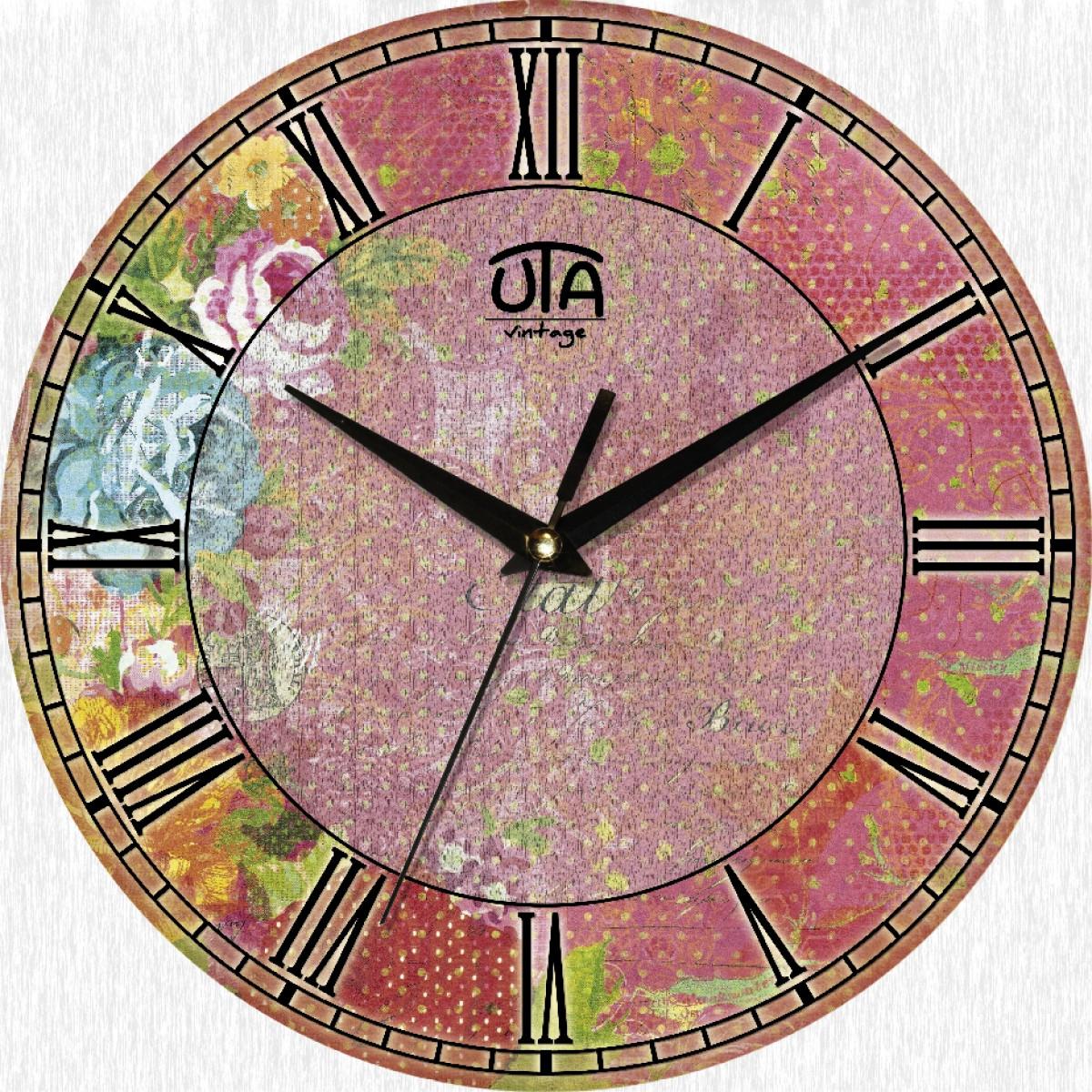 Часы настенные UTA Vintage 330 х 330 х 27 мм Цветочный орнамент