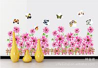 "Наклейка на стену, наклейка цветок, наклейки на шкаф ""фиолетовые цветы"", наклейки на окна 48*94см (лист50*70)"