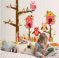"""Наклейка на стену, наклейки для декора стен """"Совиный городок"""" наклейки для детей 60*75см (лист 50*70см)"""