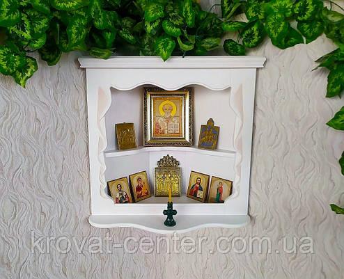 Белая угловая полка под иконы из дерева от производителя, фото 2