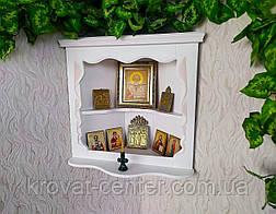 Белая угловая полка под иконы из дерева от производителя, фото 3