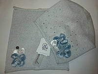 Детский демисезонный комплект (шапочка+снуд) для девочки (18V45), ТМ NIKOLA