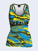 Женская 3D  Майка-борцовка Камуфляж Украина