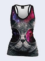 Женская 3D  Майка-борцовка Кот в космических очках