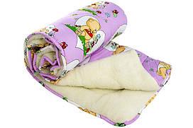 """Детское меховое одеяло """"Чарівний сон"""", натуральный мех из овчины, сатин, холлофайбер 110х140 см"""