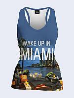 Женская 3D  Майка-борцовка Ночной Майами