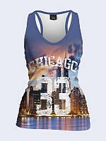 Женская 3D  Майка-борцовка Ночной Чикаго