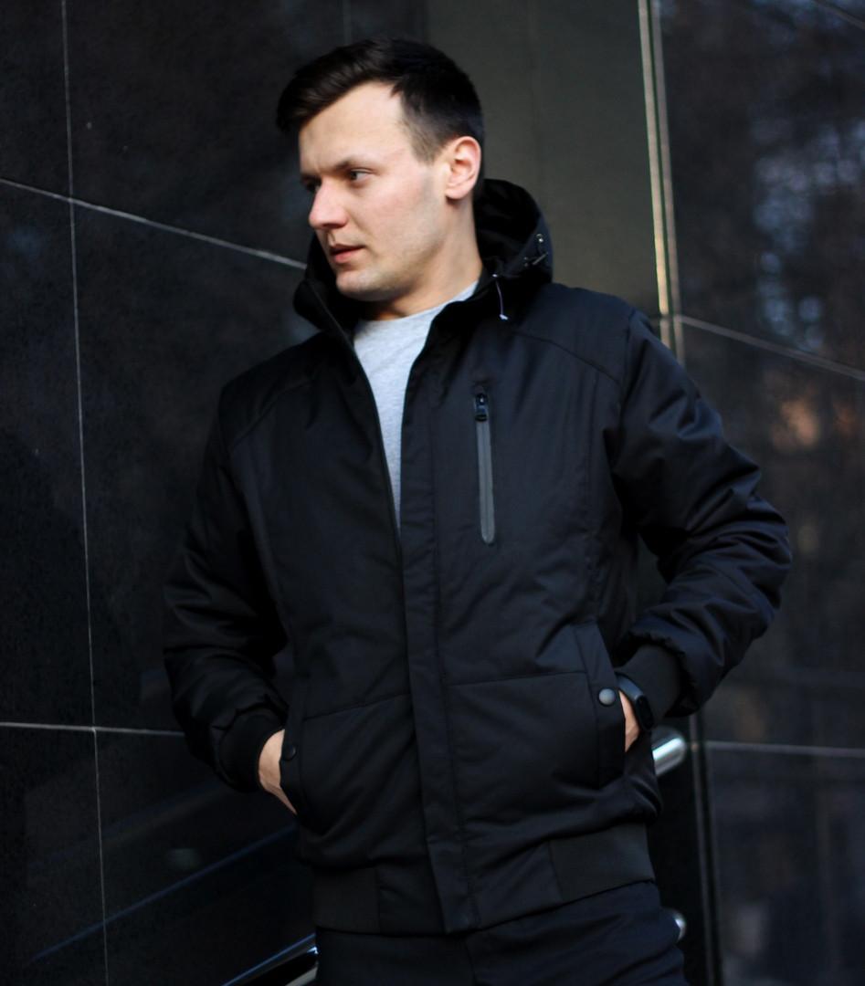Куртка мужская демисезонная с капюшоном черная Турция. Живое фото (весенняя куртка)