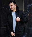 Куртка мужская демисезонная с капюшоном черная Турция. Живое фото (весенняя куртка), фото 4