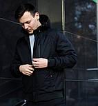 Куртка мужская демисезонная с капюшоном черная Турция. Живое фото (весенняя куртка), фото 5
