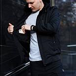 Куртка мужская демисезонная с капюшоном черная Турция. Живое фото (весенняя куртка), фото 6