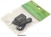 PowerPlant зарядное устройство W-280 1xUSB 2A + кабель MicroUSB Black