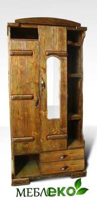 """Шкаф в прихожую \ гостиную """" Маша и медведь"""" из натурального дерева под старину."""