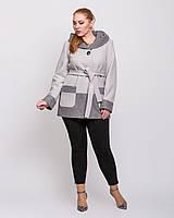 Женское короткое комбинированное пальто с капюшоном
