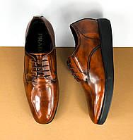 Мужские коричневые туфли Prada (Прада) арт. 42-26