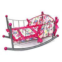 Кроватка-качалка для кукол с постельным, FL989-3