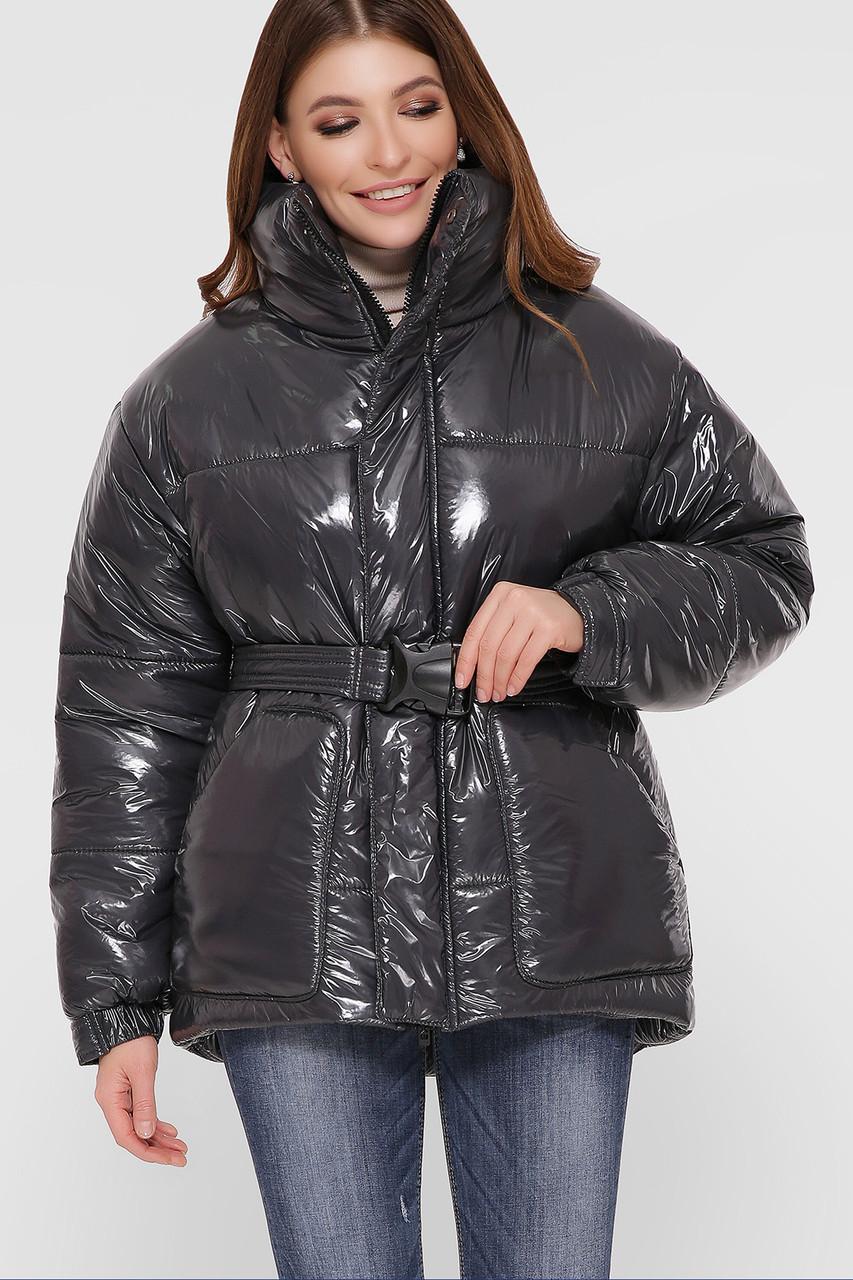 Модна зимова куртка з плащової тканини Лак Розміри S M