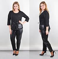 Женский костюм- двойка, эко кожа+ трикотаж, туника + брюки. Большого размера 50-52, 54-56, 58-60, 62-64 черный