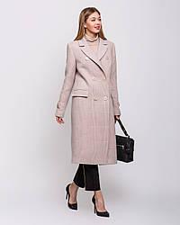 Пальто женское демисезонное кашемир, макси, двубортное в клетку 1352 | 44, 46, 48, 50, 52, 54размеры