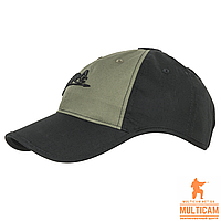 Бейсболка Helikon-Tex® Logo Cap - PolyCotton Ripstop - Black/Olive Green, фото 1