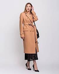 Пальто женское демисезонное кашемир, макси, двубортное с поясом 1352-1 | 44, 46, 48, 50, 52, 54размеры