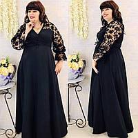 Женское нарядное платье длинное на запах черное софт рукав кружево размер: 48-52, 54-58, 60-64