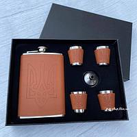 Подарочный набор с флягой и рюмками Тризуб (Герб), фото 1