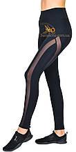 Cпортивные женские черные лосины с сеткой