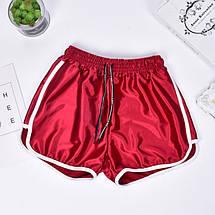 Женские шорты со шнурком для пляжа и спорта Caroset серебро атлас, фото 3