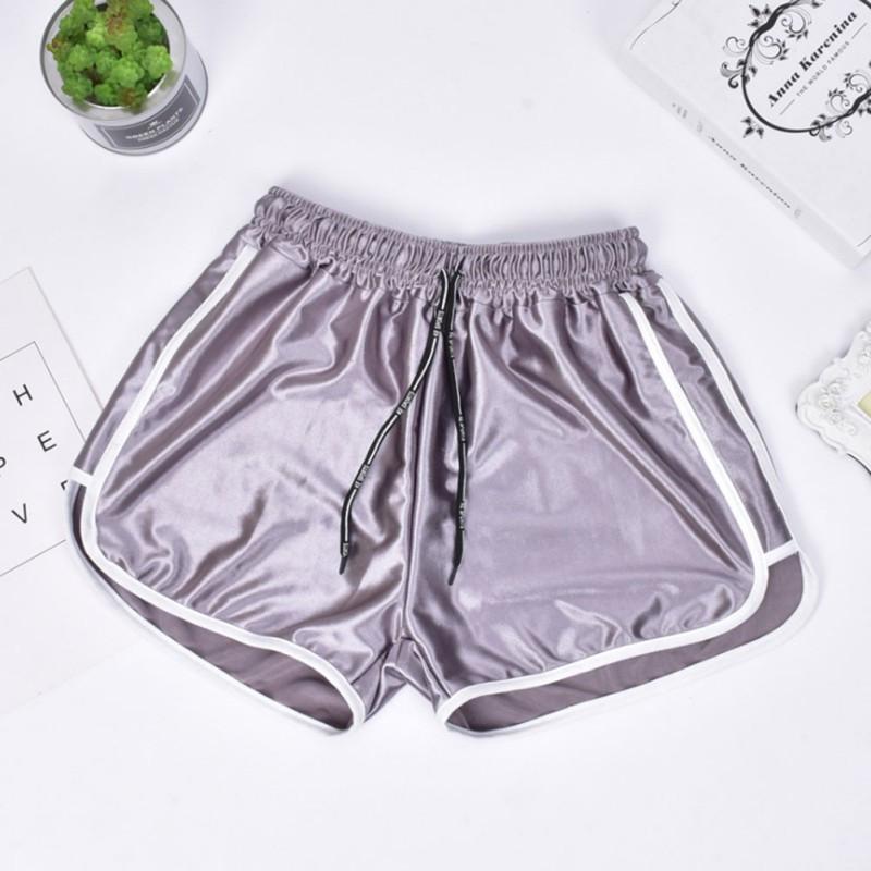 Женские шорты со шнурком для пляжа и спорта Caroset серебро атлас