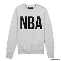 Свитшот мужской серый с принтом NBA