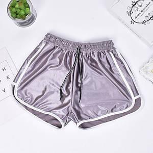 Женские шорты со шнурком для пляжа и спорта Caroset серебро атлас XL