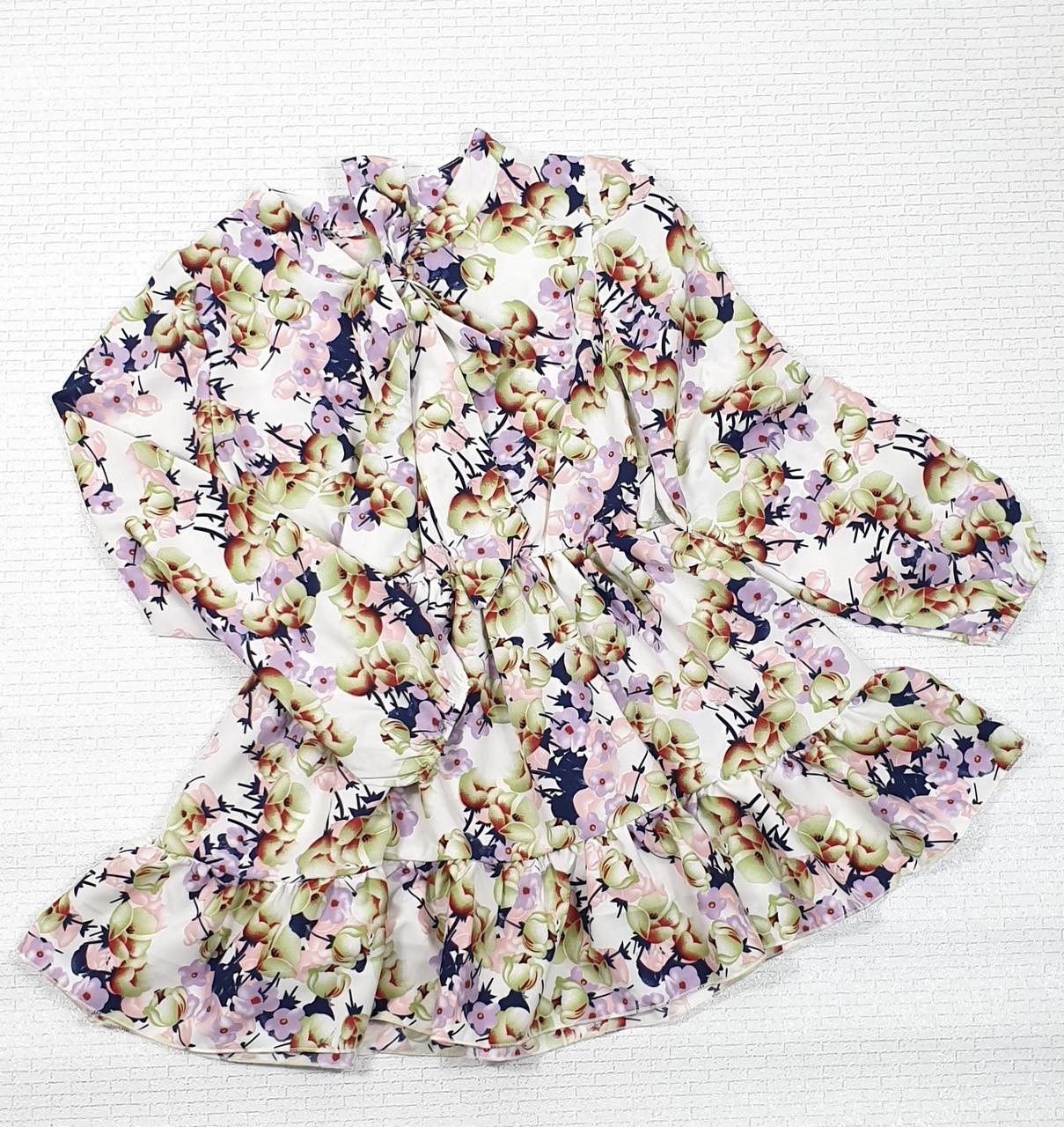 Модное стильное Платье для девочки с рюшем 134-152 цветы на белом
