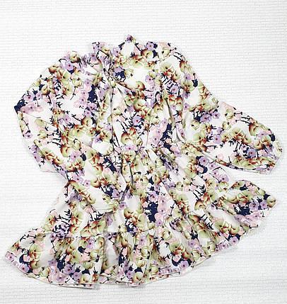 Модное стильное Платье для девочки с рюшем 134-152 цветы на белом, фото 2