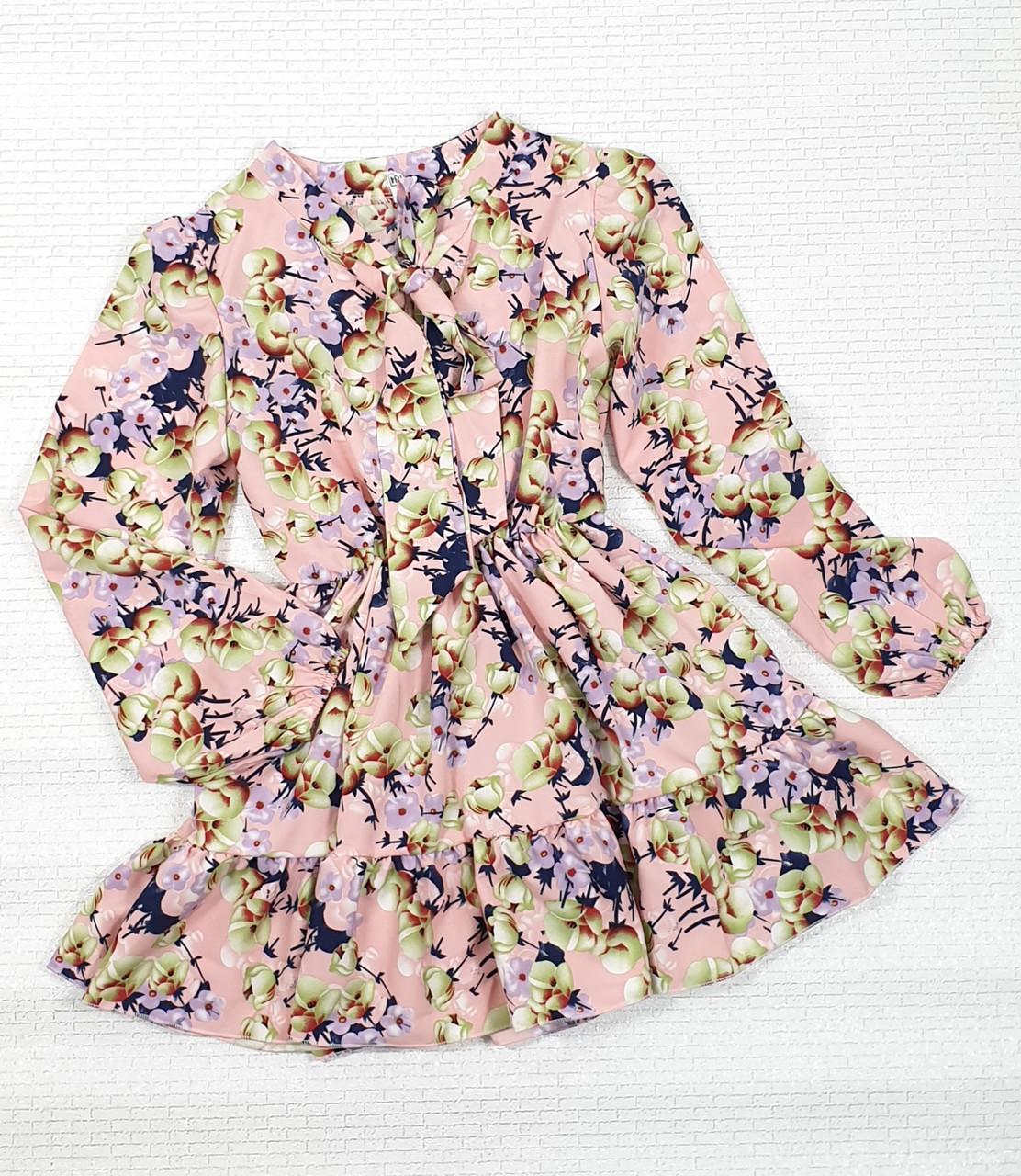 Модное стильное Платье для девочки с рюшем 134-152 цветы на пудровом