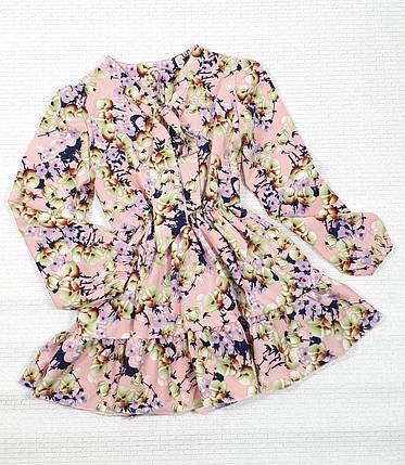 Модное стильное Платье для девочки с рюшем 134-152 цветы на пудровом, фото 2