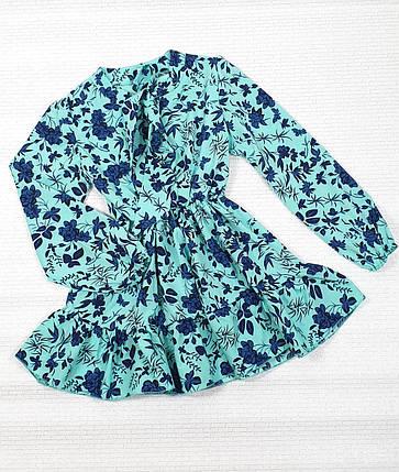 Модное стильное Платье для девочки с рюшем 134-152 цветы на мятном, фото 2