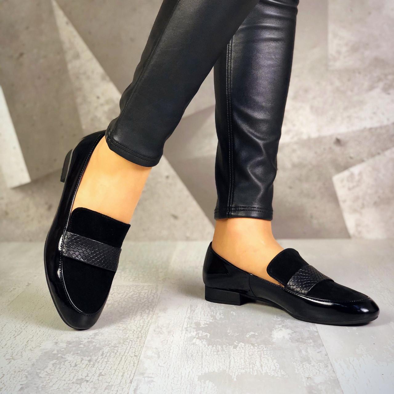 Стильные туфли лоферы замша +кожа лак  36-40 р чёрный
