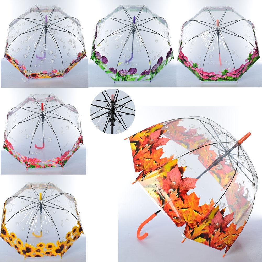 Зонтик детский MK 3642 (60шт)  длин82см, трость75см, диам80см, спица58см, клеенка, прозрач, 5вид
