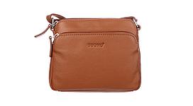 Сумка из натуральной кожи Buono Leather через плечо, коричневого цвета