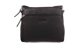 Сумка из натуральной кожи Buono Leather через плечо, черного цвета