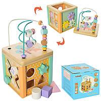 Деревянная игрушка Центр развивающий MD 2253 (27шт) лабиринт на проволоке,сортер,в кор,16,5-18-16см