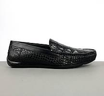 Черные мужские мокасины Zegna из кожи аллигатора (Зегна) арт. 47-01