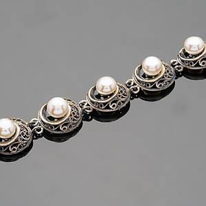 Срібний браслет з перлами арт. 490б